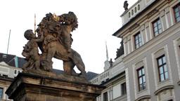 PRAGUE, CZECH REPUBLIC - SEPTEMBER 2013: Prague Castle (morning) - Lion and Flag Footage