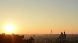 Sunrise Over City - Prague stock footage