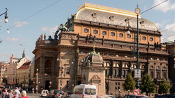 PRAGUE, CZECH REPUBLIC - SEPTEMBER 2013: National theatre and street with people Footage