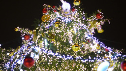 PRAGUE, CZECH REPUBLIC - DECEMBER 2013: Christmas tree in night - big tree on th Footage