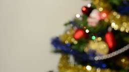 Part of decorated Christmas Tree - white background - blurred shot Footage