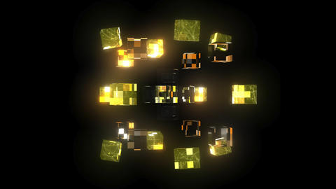 3D Glass Cubes - Spinning - 10 Second Loop Stock Video Footage