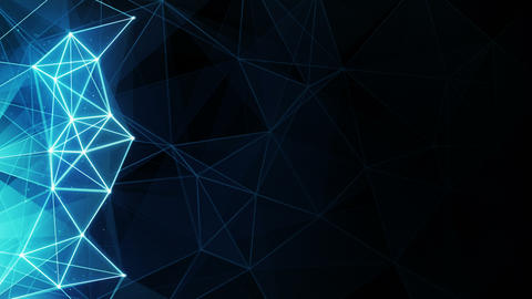 glowing blue polygon background seamless loop 4k (4096x2304) Animation