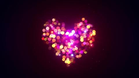 colorful bokeh lights heart shape loopable animation 4k…, Stock Animation