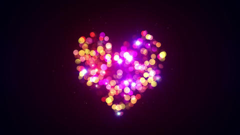 colorful bokeh lights heart shape loopable animation 4k (4096x2304) Animation