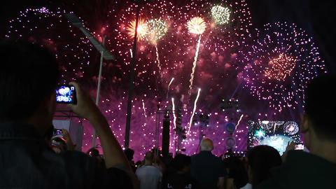 people watching fireworks Footage