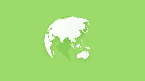 simple white globe earth on green background Animation