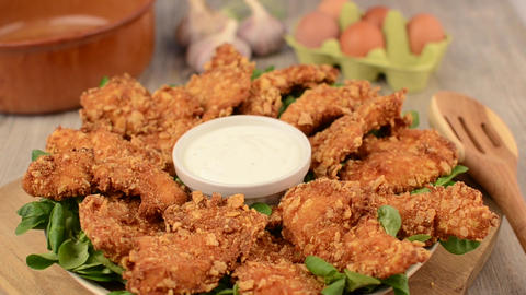 Chicken strips delish footage home cooking Filmmaterial