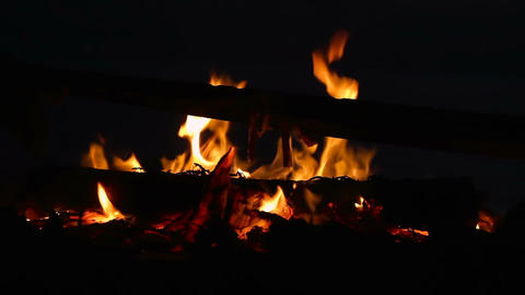Campfire with burning log wood and twigs at night Footage