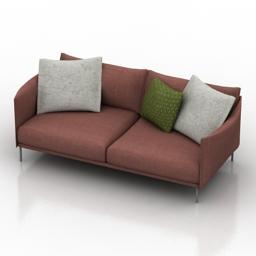 wine color sofa buy 3D Model