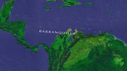Barranquilla - Colombia zoom in from space Animation