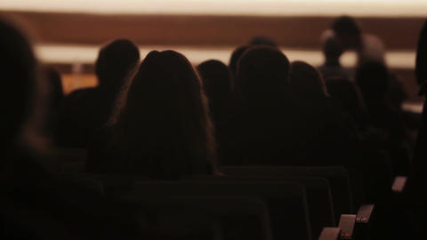 Spectators taking their seats in theater, view on dark hall and audience Footage