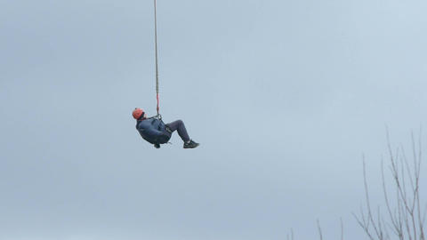 Bungee Jumper High Up In The Sky Footage
