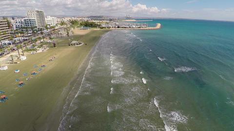 Fantastic aerial view of Cyprus resort at Mediterranean seaside, summer vacation Footage