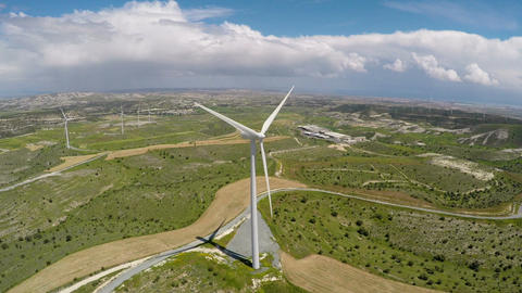Wind turbine technology used for electricity production, technical progress Footage