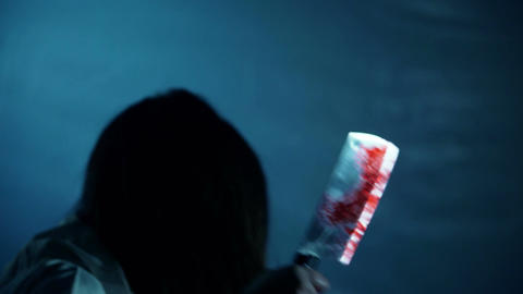 Bloody female murderer chopping victim with butcher knife, horror, nightmare Live Action