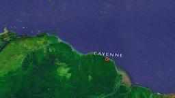 Cayenne - French Guiana zoom in from space Animation