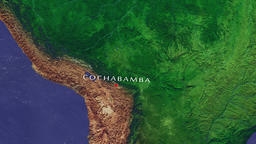 Cochabamba - Bolivia zoom in from space Animation