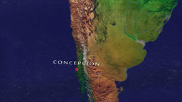 Concepcion - Chile zoom in from space Animation