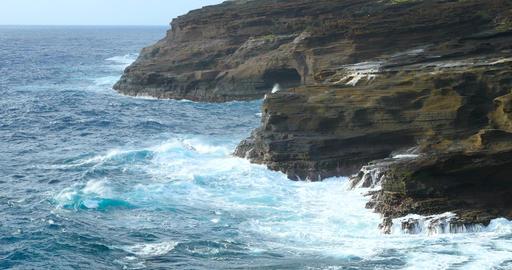 Ocean Waves Hawaii Shoreline Scenic Footage