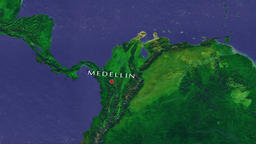 Medellin - Colombia zoom in from space Animation