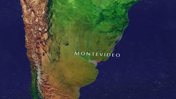 Montevideo - Uruguay zoom in from space Animation