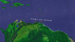 Port of Spain - Trinidad and Tobago zoom in from space Animation