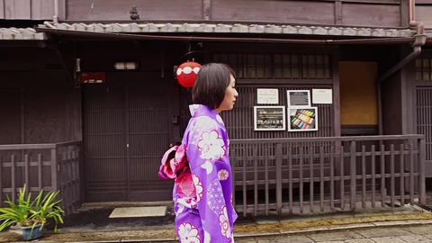 Kimono girl walking Kyoto Japan Footage