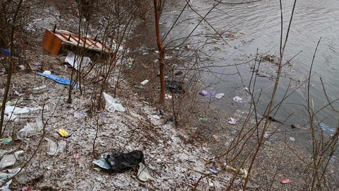 The garbage in the river Footage