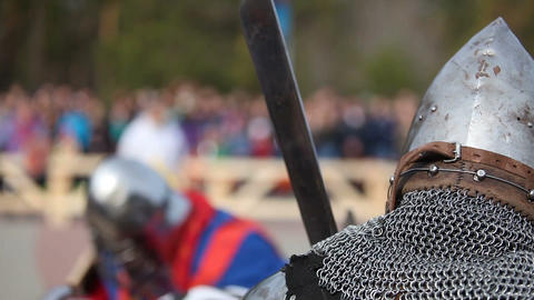Medieval knight tournament. Reconstruction Bild