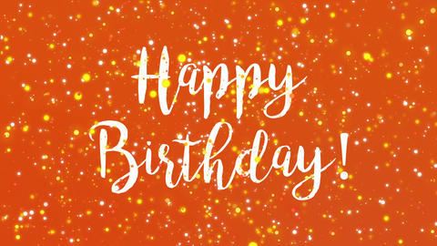 Sparkly orange Happy Birthday greeting card video Animation