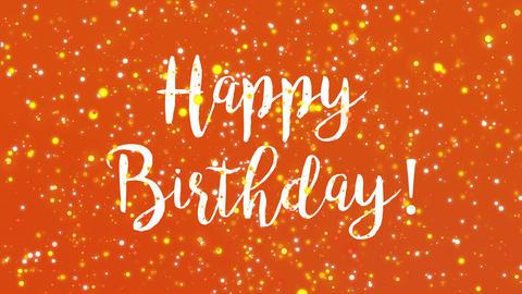 Sparkly orange Happy Birthday greeting card video Animation