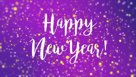 Sparkly purple Happy New Year greeting card video
