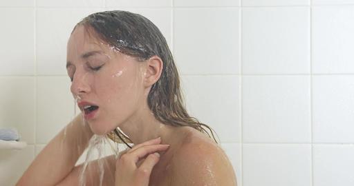 Woman Showering Bathroom Footage
