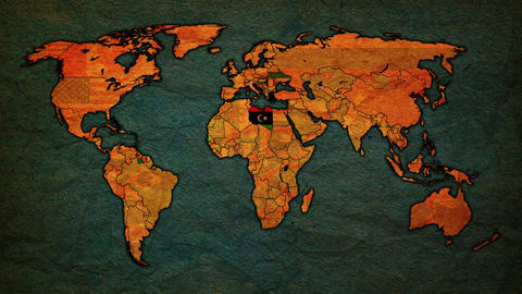 Vintage political map of world with national flags Animation