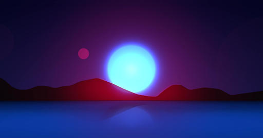 Flatland Backgrounds - Another Planet NIGHT Stock Video Footage