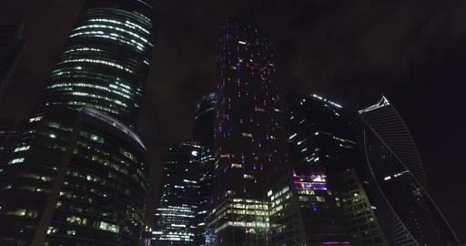 Aerial night business building Moscow city Footage