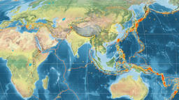 India tectonics featured. Topography. Mollweide projection Animation