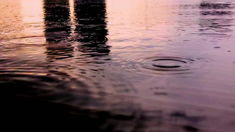 Rain Drops on the Water CG動画素材