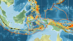 Molucca Sea tectonics featured. Topography. Mollweide projection Animation