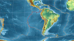 Nazca tectonics featured. Relief. Mollweide projection Animation