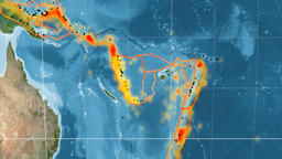 New Hebrides tectonics featured. Satellite imagery. Kavrayskiy VII projection Animation