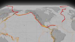 North America tectonics featured. Elevation grayscale. Kavrayskiy VII projection Animation