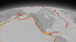 North America tectonics featured. Elevation grayscale. Mollweide projection Animation