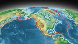 North America tectonics featured. Physical. Mollweide projection Animation