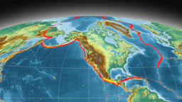 North America tectonics featured. Relief. Mollweide projection Animation