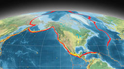 North America tectonics featured. Topography. Mollweide projection Animation