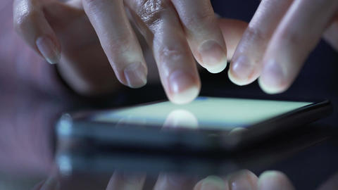 Female hands using smartphone app for shopping online, searching goods on page Footage