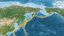 Okhotsk tectonics featured. Satellite imagery. Mollweide projection Animation