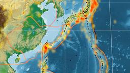 Okinawa tectonics featured. Physical. Kavrayskiy VII projection Animation